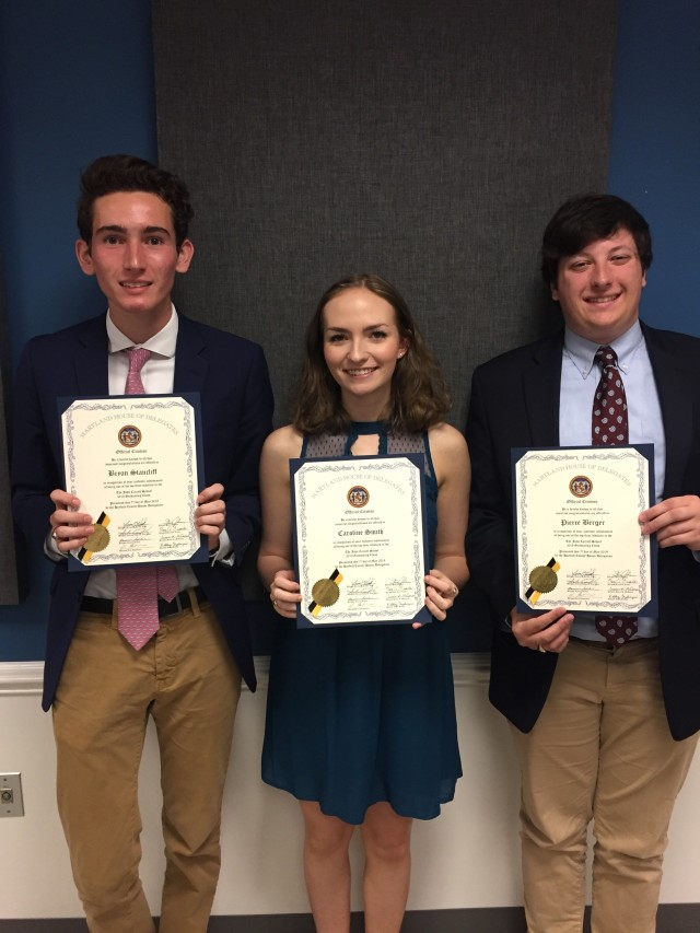 Patriots Honored at the Maryland House of Delegate's Scholar Reception graphic